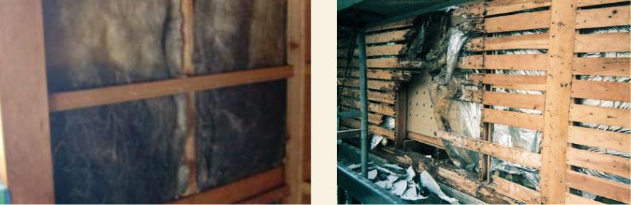 内部結露で傷んだ壁内部の建材